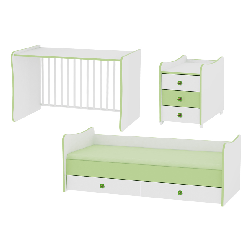 lit b b volutif maxiplus 3en1 lorelli vert. Black Bedroom Furniture Sets. Home Design Ideas